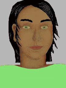 a portrait of a person with caramel skin, black hair, and a light green coloured shirt