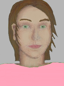 a portrait of a person with cream skin, brown hair, and a light pink coloured shirt