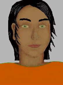 a portrait of a person with caramel skin, black hair, and a orange coloured shirt