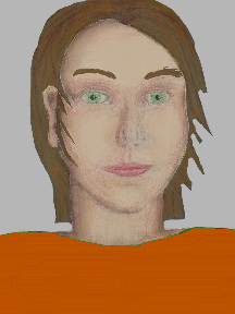 a portrait of a person with cream skin, brown hair, and a orange coloured shirt