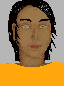 a portrait of a person with caramel skin, black hair, and a yellow-orange coloured shirt