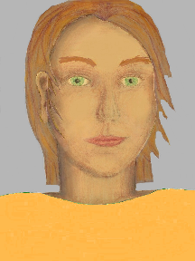a portrait of a person with golden skin, red hair, and a yellow orange coloured shirt