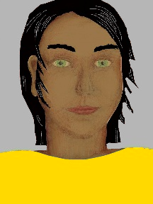 a portrait of a person with caramel skin, black hair, and a golden yellow coloured shirt