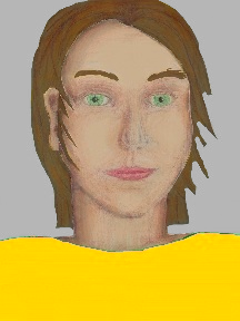 a portrait of a person with cream skin, brown hair, and a golden yellow coloured shirt