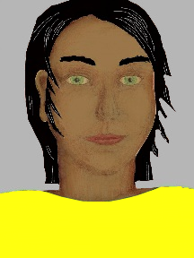 a portrait of a person with caramel skin, black hair, and a yellow coloured shirt