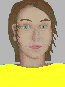 a portrait of a person with cream skin, brown hair, and a yellow coloured shirt
