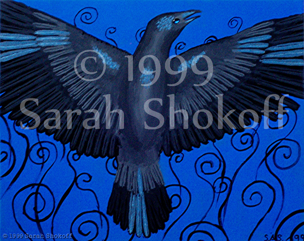 A beautiful crow beats its wings over a blue backdrop with black swirling lines. The bird's vast wingspan displays rows of feathers; some highlighted with a shimmering silver blue. The crow's eye shines like a polished gem.