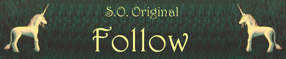 the words S.O. Original Follow fanked by white unicorns