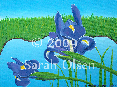 Two beautiful irises rendered in high detail by a beautiful blue pond. The landscape is sunlit without a cloud in the sky.