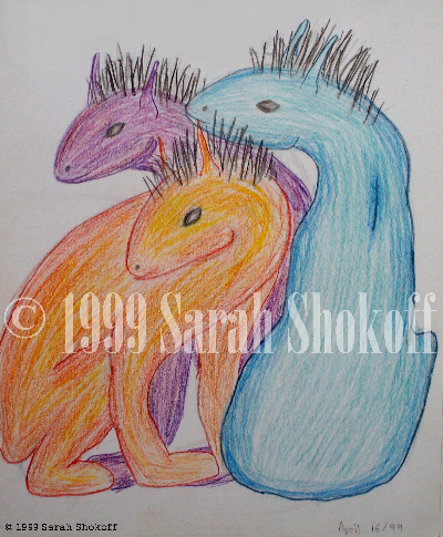 Three adorable fantasy creatures turn their heads to watch something of interest. They have feline bodies and dragon-like heads toped with spiky black hair. This work was done as a sketch and individual pencil crayon strokes can be seen.